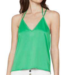 BCBGMaxazria Vibrant Green Tie-Back Satin Top