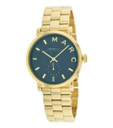 Marc Jacobs Gold Baker Black Dial Watch