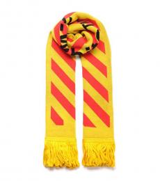 Off-White Yellow-Red Logo Scarf