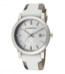 Burberry White-Brown Silver Logo Watch