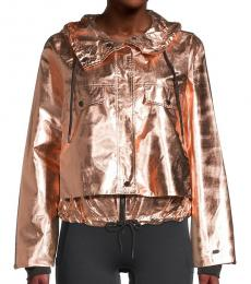 DKNY Rose Gold Hoodie Cropped Jacket