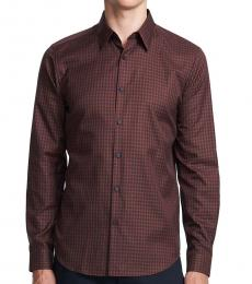 Maroon Irving Woven Check Shirt