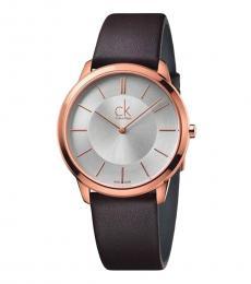Calvin Klein Brown Rose Gold Logo Watch
