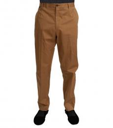Brown Cotton Stretch Pants