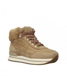 Hogan Beige Camel Suede Sneakers