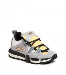Diesel Grey Leather Fabric Sneakers