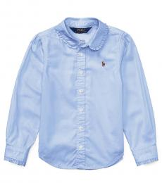 Little Girls Light Blue Oxford Shirt