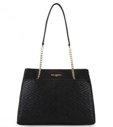 Black Quilted Chain Medium Tote