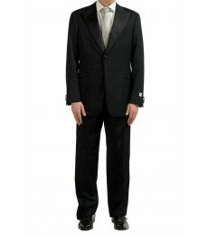 Black Wool One Button Suit