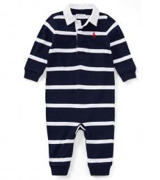 Ralph Lauren Baby Boys Navy Striped Rugby Coverall