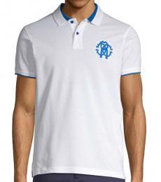 Roberto Cavalli Bianco Logo Crest Polo