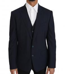 Navy Blue 2 Piece Wool Martini Vest Blazer