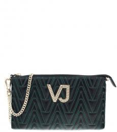 Versace Jeans Black/Green Logo Small Shoulder Bag