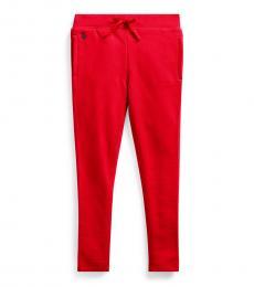 Ralph Lauren Little Girls Red French Terry Pants