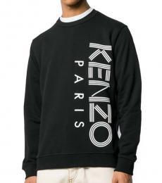 Kenzo Black Cotton Logo Printed Sweatshirt