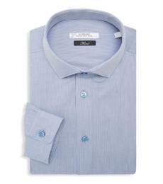 Blue Trend Fit Textured Dress Shirt