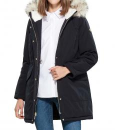 Michael Kors Navy Blue Faux Fur Hooded Anorak