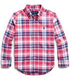 Little Boys Red/White Plaid Poplin Shirt