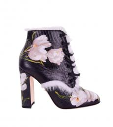 Black Floral Ankle Boots