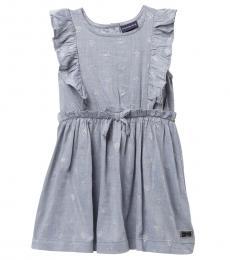 Calvin Klein Little Girls Grey Ruffled Yoke Sleeveless Dress