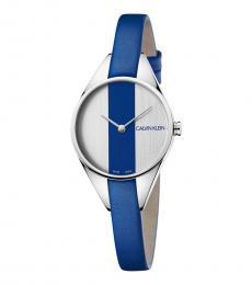Calvin Klein Silver-Blue Rebel Watch