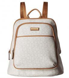 Calvin Klein White Monogram Large Backpack
