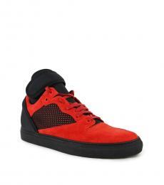 Balenciaga Black Red Hi Top Sneakers