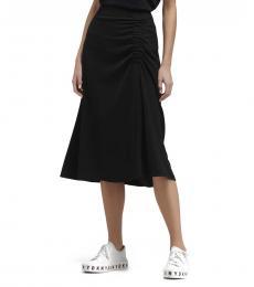 Black Draped Midi Skirt