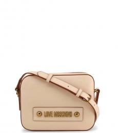 Love Moschino Beige Box Solid Medium Crossbody