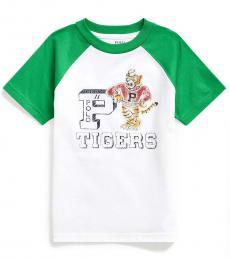 Ralph Lauren Little Boys White Tigers Baseball T-Shirt