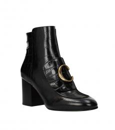 Black Croc Print Logo Boots