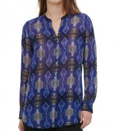 Royal Blue Printed High-Low Blouse