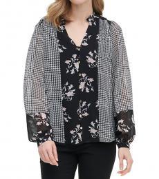 Plaid Combo Patchwork Button-Front Shirt