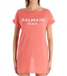 Pink Velvet Logo Dress