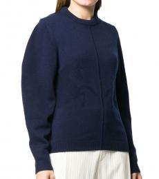 Chloe Navy Blue Cashmere Crewneck Sweater