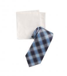 Michael Kors Blue Double Track Check Tie & Pocket Square Set