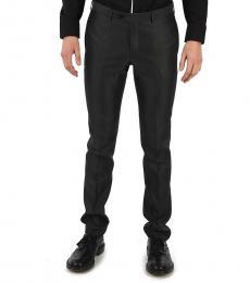 Black Virgin Wool Silk Pants
