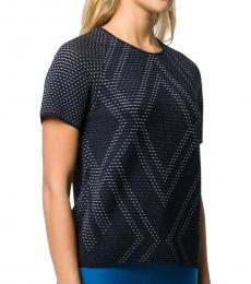 Dark Blue Perforated Knit Top