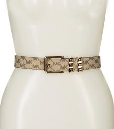 Michael Kors Natural Logo Pyramid Stud Belt