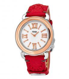 Fendi Red-Rose Gold Selleria Watch