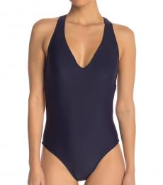 Navy Blue Solid Racerback One-Piece Swimsuit