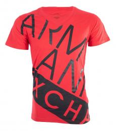 Armani Exchange Red Slim Fit Logo T-Shirt