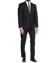 Vince Camuto Black Notch Lapel Wool Slim Fit Suit