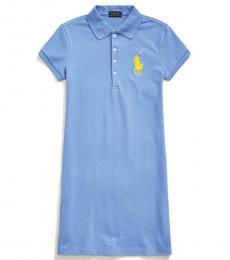 Girls Harbor Island Blue Stretch Mesh Polo Dress