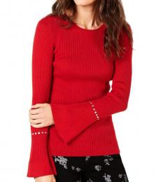 Michael Kors Red Ribbed Sleeve Studded Sweater