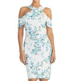 White Cold Shoulder Floral Lace Midi Dress