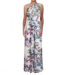 Ralph Lauren Off White Gathered One Shoulder Gown