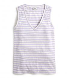 White Striped Cotton Tank Top