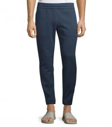 Navy Blue Cotton Drawstring Pants