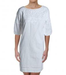 White Embroidered Bell Sleeve Shift Dress